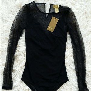 H&M Black Long Sleeved Lace One Piece Size: 2